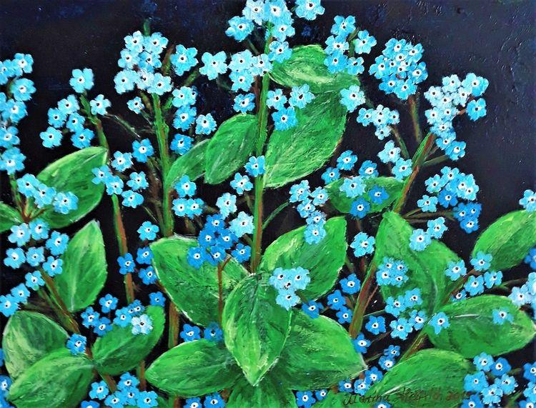 Blumen, Pflanzen, Natur, Vergissmeinnicht, Acrylmalerei, Malerei