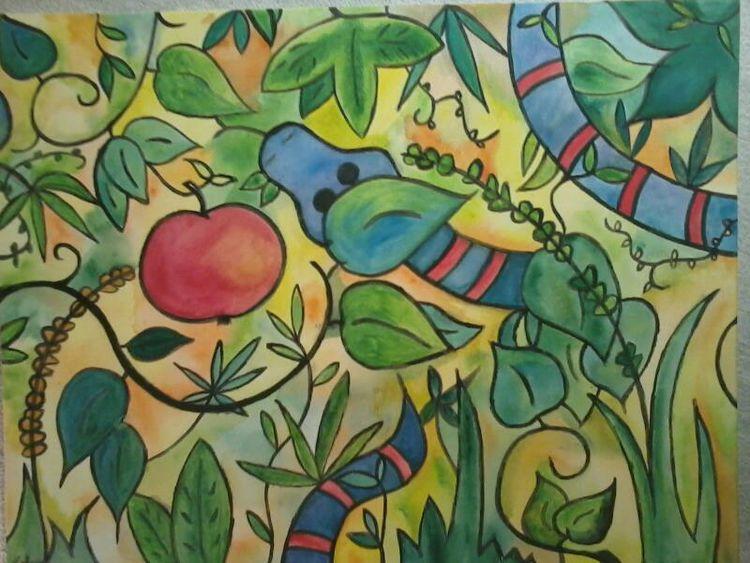 Bibel, Schlange, Adam eva, Apfel, Aquarell, Garten