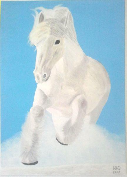 Malerei, Pferd schnee, Natur, Schnee