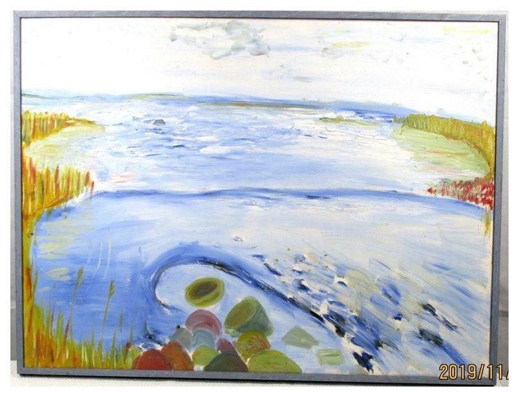 Kalt, Ölmalerei, Naiv, Gemälde, Fjord, Wasser