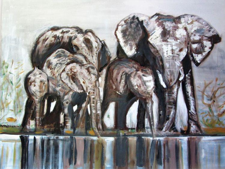 Elefant, Wasser, Landschaft, Mischtechnik, Herd, Schwarz weiß