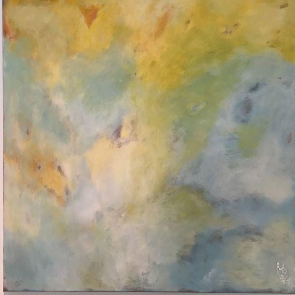 Abstrakte malerei, Informelle malerei, Summertime, Blau, Sonne, Gelb