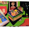 Katze, Kinderzeichnung, Brief, Kunstbücher