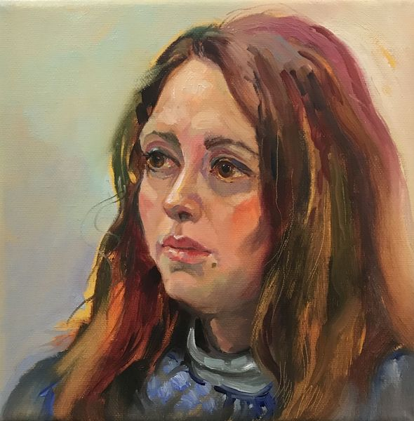 Frau, Gesicht, Portrait, Ölmalerei, Malerei