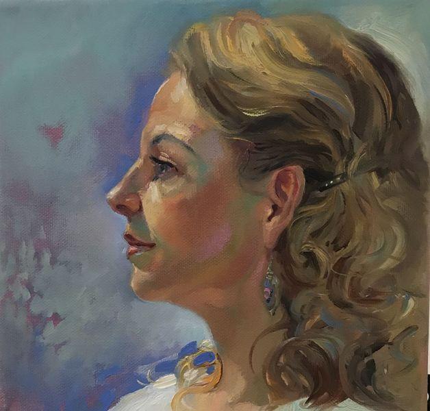 Ölmalerei, Malerei, Frau, Gesicht, Profil, Portrait