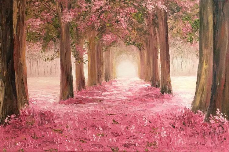 Japanische kirsche, Allee, Kirschblüten, Frühling, Sakuraallee, Malerei