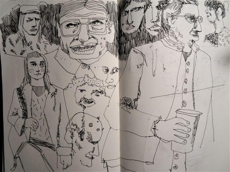 Gesellschaft, Skizze, Alltag, Zeichnungen