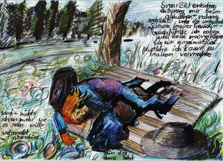 Illustration, Picknick, Geschichte, Verfremdung, Menschen, Comic