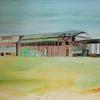 Rheinhausen, Aquarellmalerei, Tusche, Industrie