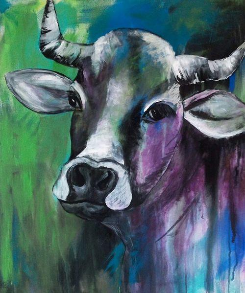 Kuh, Mischtechnik, Acrylmalerei, Malerei, Abstrakt, Lila