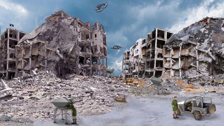 Apokalypse, Zeitalter, Illustration, Digitale malerei, Dystopian landscape, Zukunft