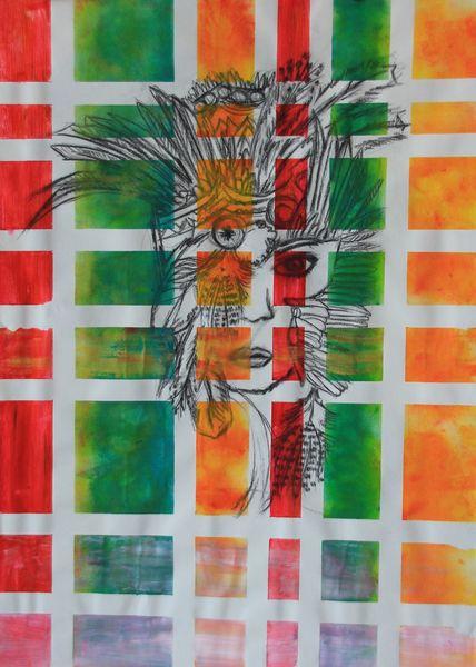 Rot, Grün, Bunt, Aztekin, Frau, Maske