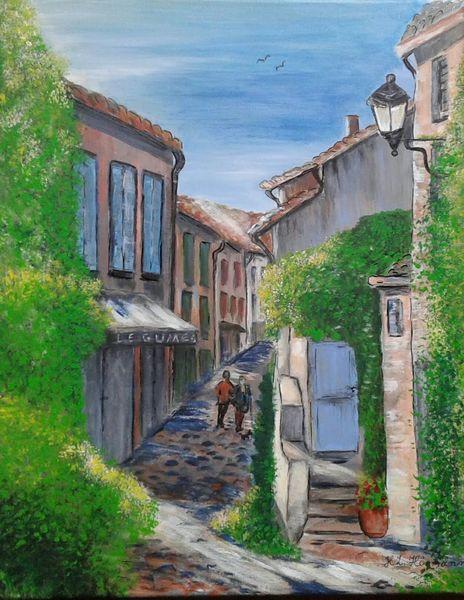 Südfrankreich, Landschaft, Acrylmalerei, Gasse, Dorf, Spaziergänger
