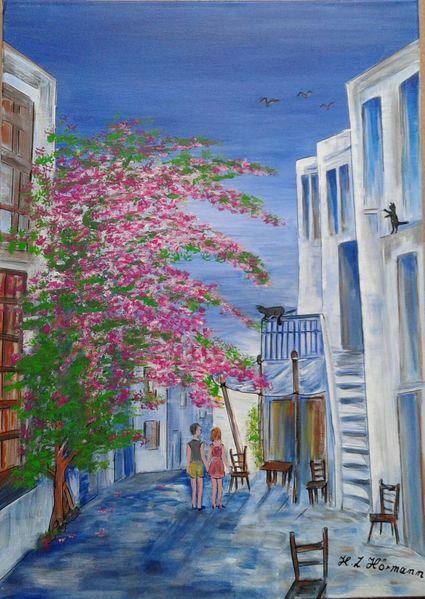 Balkon, Katze, Liebespaar, Griechenland, Malerei, Ferien