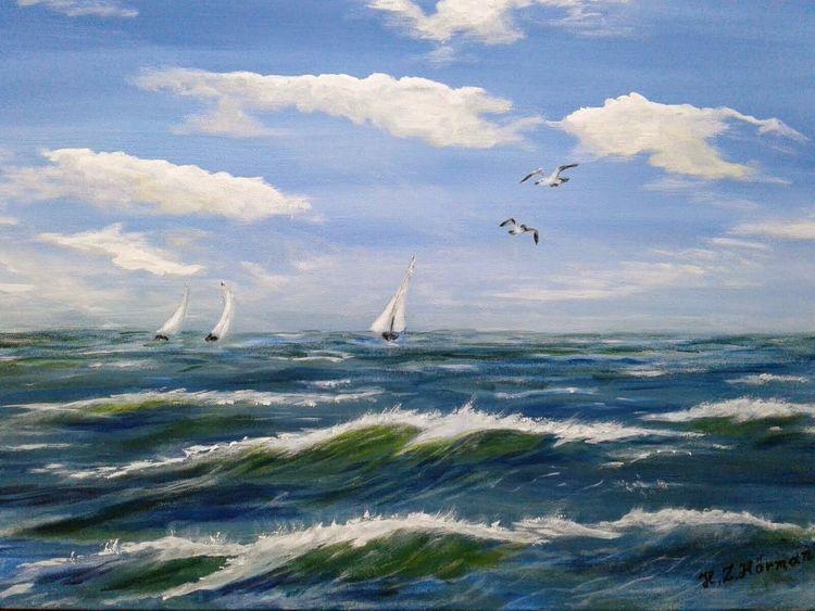Wolken, Acrylmalerei, Ostsee, Welle, Malerei