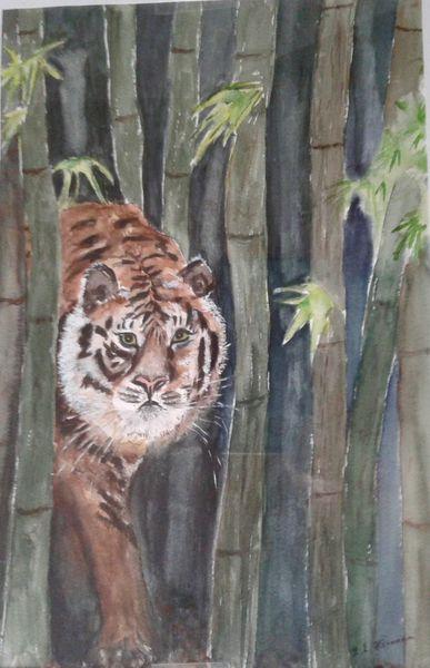Aquarellmalerei, Tiger, Bambus, Bambuswald, Malerei