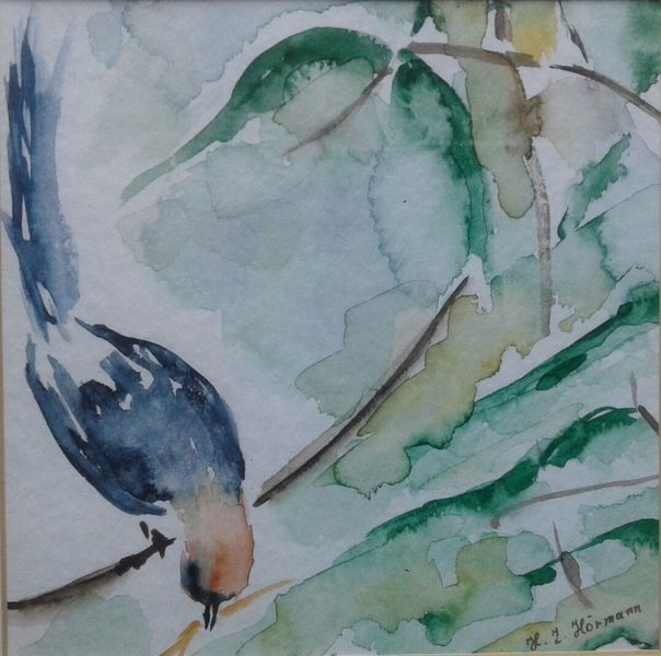 Äste, Vogel, Baum, Blätter, Aquarell