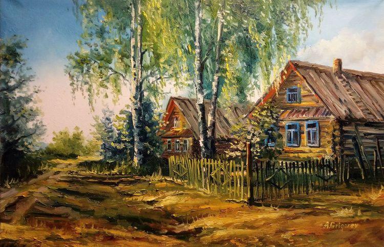 Ölmalerei, Fluss, Landschaft, Sonne, Russland, Brücke