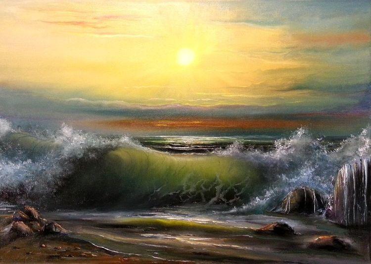 Natur, Meer, Malerei, Strand, Landschaft, Welle