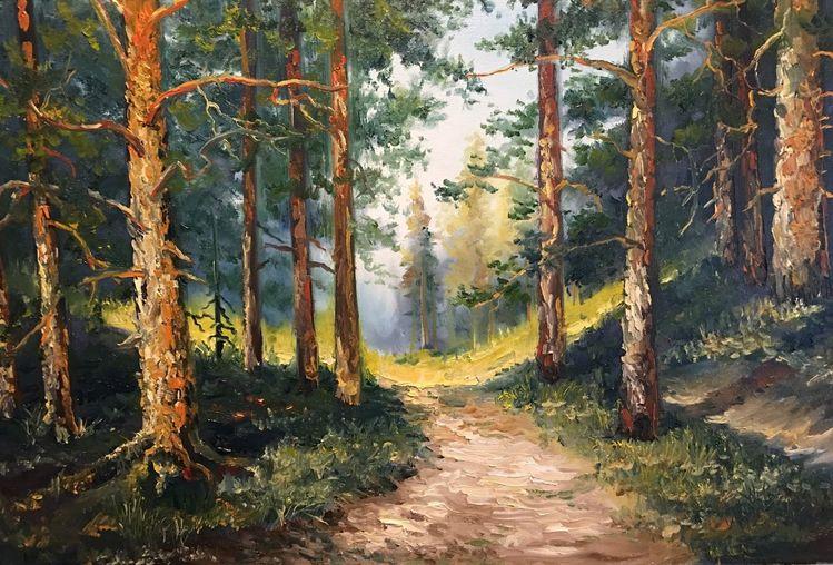 Zeichnung, Werkstatt, Malerei, Wald, Landschaft