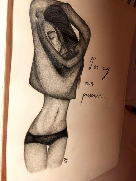 Gefangen, Mädchen, Bleistiftzeichnung, Zeichnung, Schwarz weiß, Zeichnungen