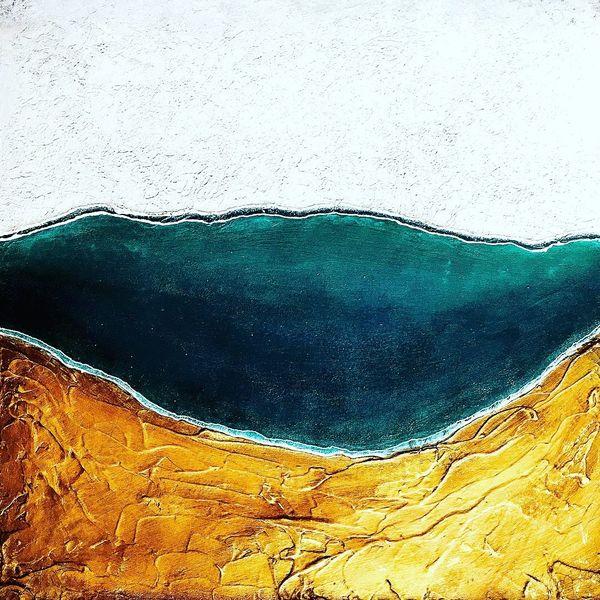 Landschaft, Mono, Mischtechnik, Holz, Gold, Spachtel