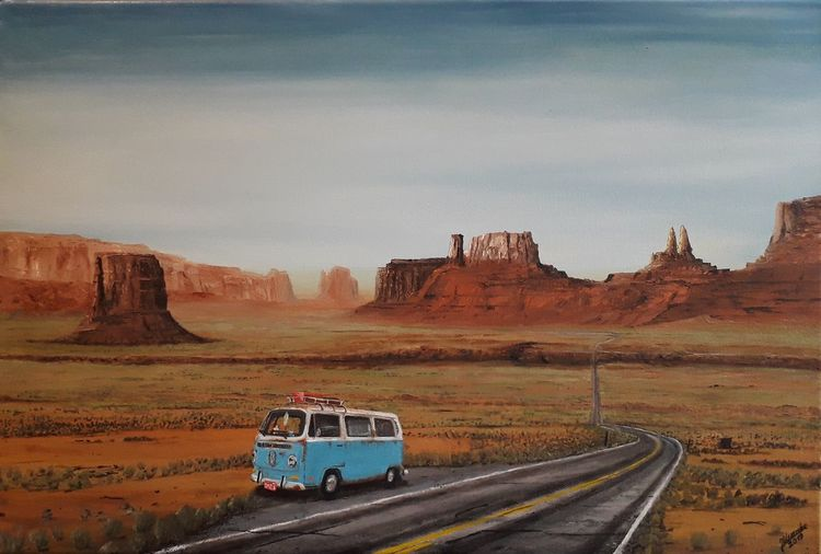 Amerika, Bulli, Lebensart, Schlucht, Malerei, Ölmalerei