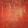 Acrylmalerei, Orange, Quadrat, Vitruvianischermensch