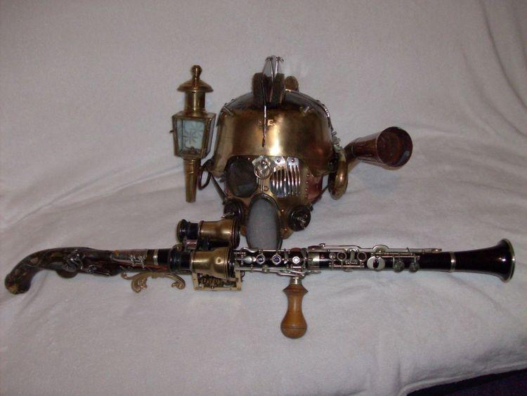 Steampunk waffen, Todesklingler, Helm, Klarinette, Werwolfjäger, Kunsthandwerk