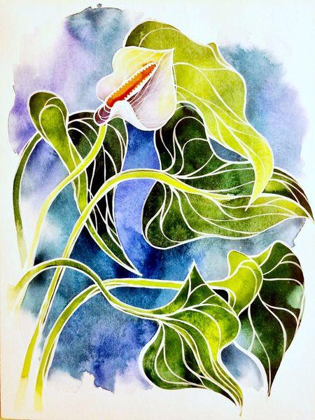 Nebenbeigekritzel, Blumen, Aquarellmalerei, Aquarell