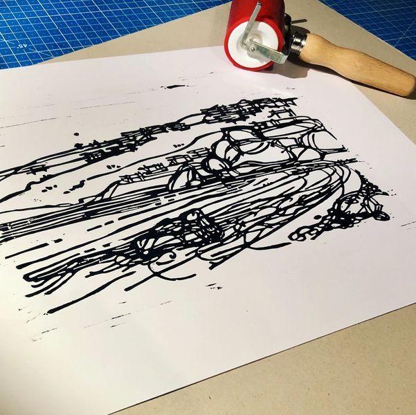 Linolschnitt, Linoldruck, Griechenland, Nebenbeigekritzel, Urlaub, Druckgrafik