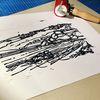 Linolschnitt, Linoldruck, Griechenland, Nebenbeigekritzel