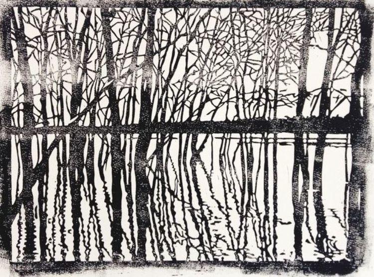 Fluss, Licht und schatten, Jahreszeiten, Spiegelung, Nebenbeigekritzel, Linolschnitt