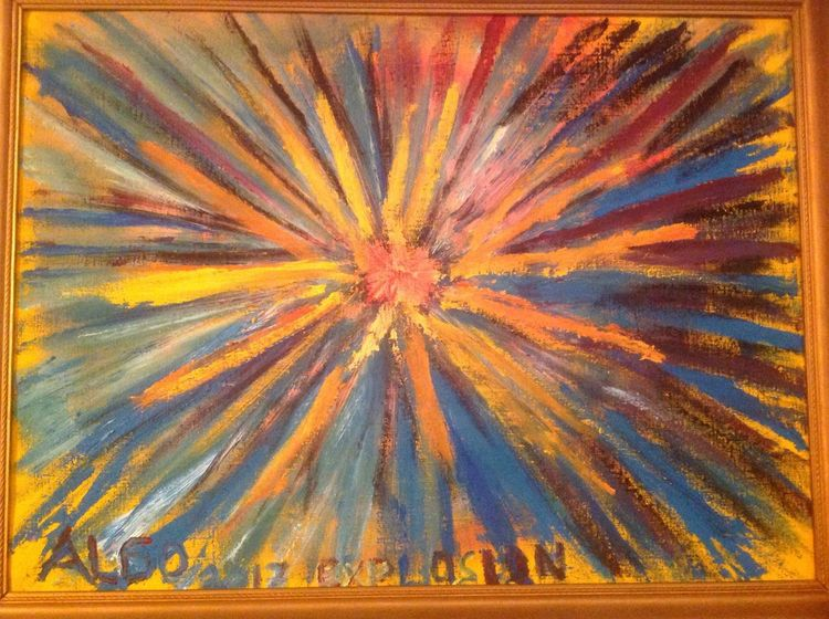 Feuer, Explosion, Glühend, Malerei