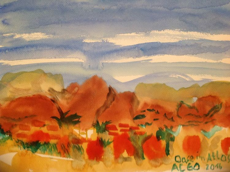 Herbst, Berge, Abstrakt, Oase, Aquarell