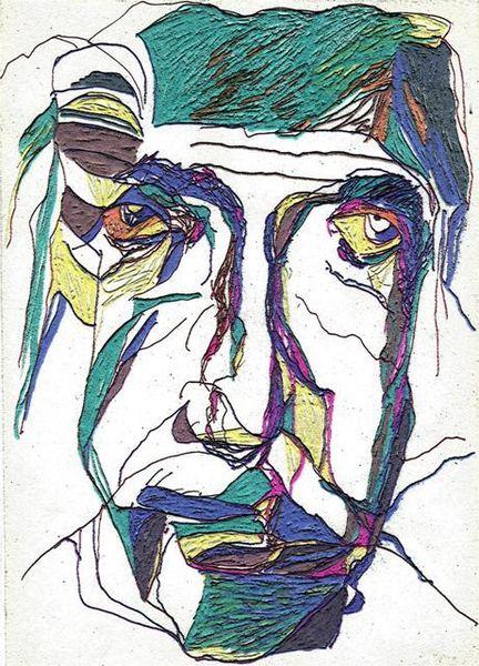 Portrait, Expressionismus, Figural, Aquarell