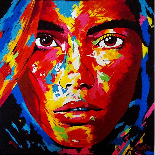 Ausdruck, Gesicht, Augen, Farben, Malerei, Mädchen