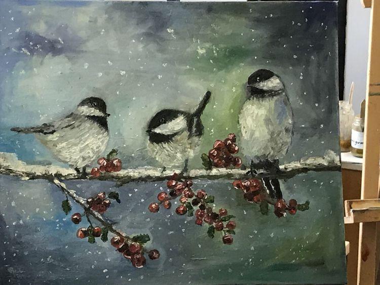Tiere, Winter, Vogel, Ölmalerei, Schnee, Malerei