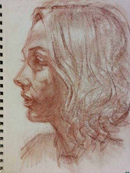 Portraitzeichnung, Zeichnung, Rötelstift, Zeichnungen