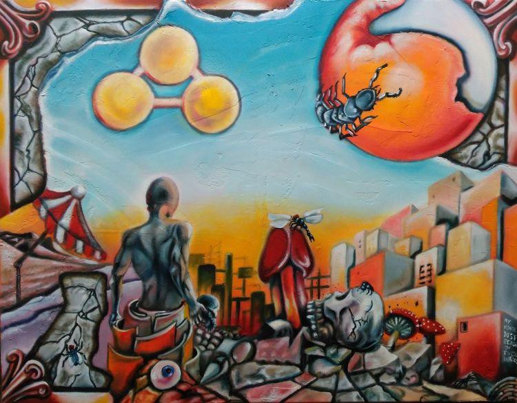 Symbolik, Sonne, Ölmalerei, Mann, Mystik, Nachmittag