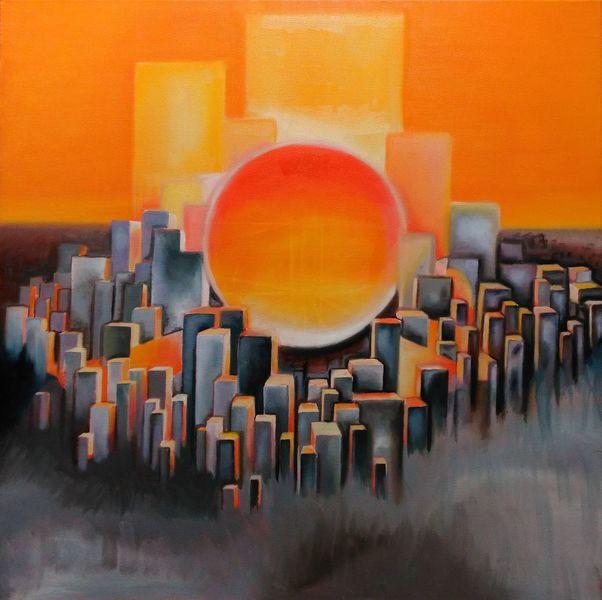 Orange, Acrylmalerei, Gelb, Sonne, Sommer, Sonnenuntergang