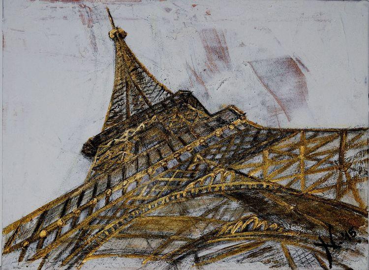Turm, Strukturpaste, Architektur, Spachtel, Malerei, Paris