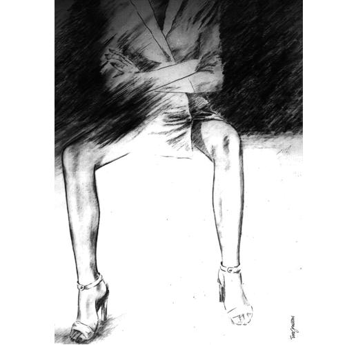 Zeichnung, Bein, Mädchen, Figural, Schuhe, Mode