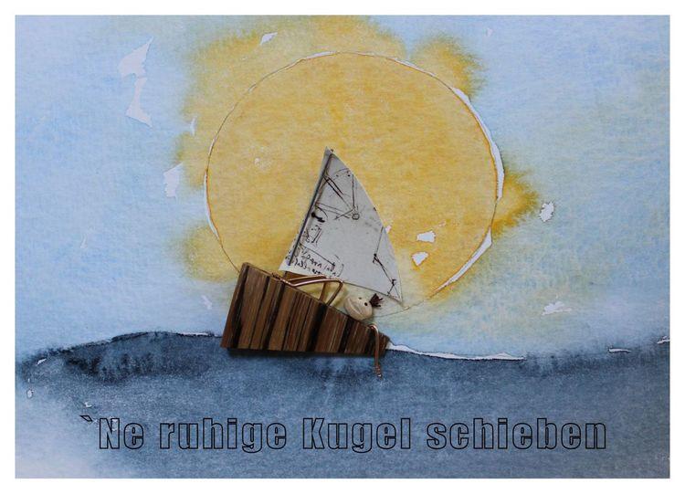 Aquarellmalerei, Kirschkernkunst, Maritimes bild, Edelholz poliert, Maritime skulptur, Aquarell