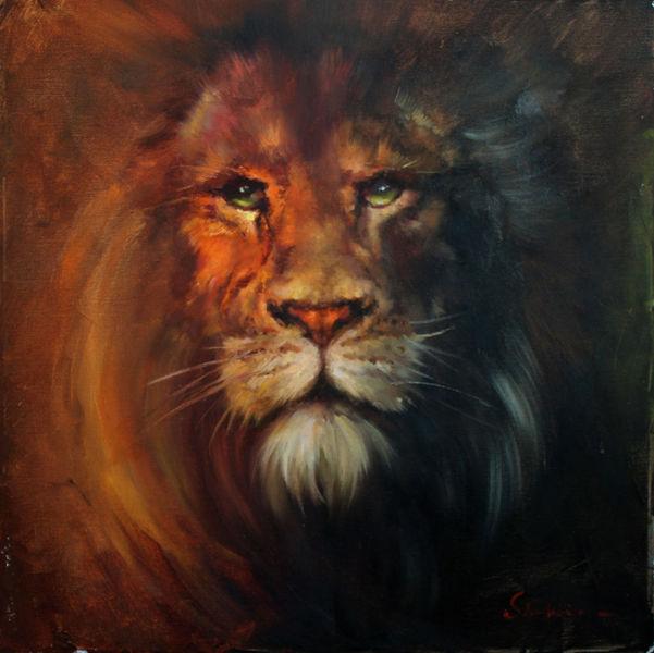 Natur, Löwe, Malerei, Augen