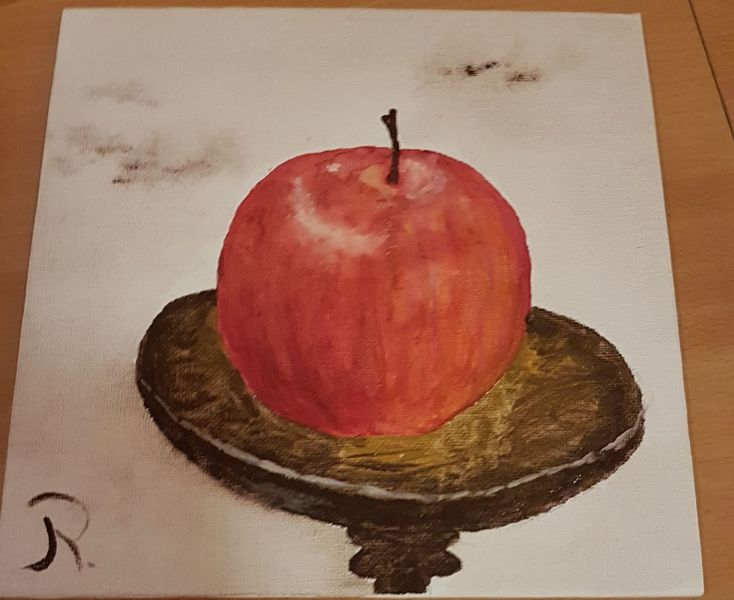 Malerei, Aquarellfarbe, Apfel, Schale, Aquarellmalerei, Figural