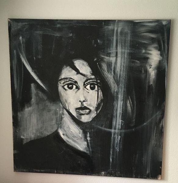 Portrait, Schwarz weiß, Frauengesicht, Malerei