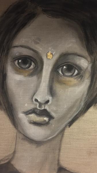 Malerei, Pigmente, Frau, Leinen, Göttin, Portrait