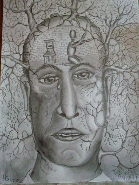 Depression, Bleistiftzeichnung, Zeichnung, Melancholie, Zeichnungen, Gefangen
