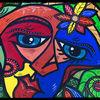 Abstrakt, Frau, Malerei, Mann